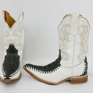 Kids Donaldo Cowboy Boots Black White Alligator